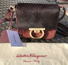 Salvatore Ferragamo Lock Suede and Calf Hair Flap Crossbody, NEW WITH TAGS  Bag