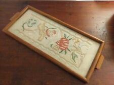 Vintage Hand Made Floral Embroidery Glass Framed Into Tray - Bentham N. Yorks