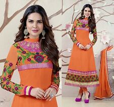 ORANGE GEORGT ANARKALI INDIAN SALWAR KAMEEZ SUIT PARTY DRESS MATERIAL LADIES DEN