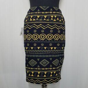Lularoe Skirt Medium Womens Cassie Yellow Blue Geometric Stretch Pencil Midi