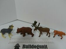 Lot of 4 Animal Forest Nature Northern Figure Toy Figurine Wolf Bear Fox Moose