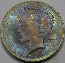 1922 Peace Silver Dollar Gem Unc. MS++... With Monster Color, an Amazing Coin!!!