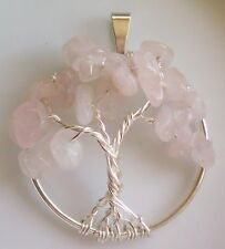 Handmade Tree of Life Necklace Pendant Rose Quartz Wire Wrapped Silver Gems