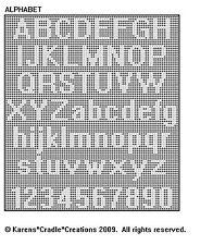 ALPHABET Upper & Lower Case/Numbers FILET CROCHET