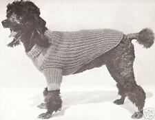 Vintage Knitting PATTERN to make Dog Sweater S/M/L Instructions PoodleSweater