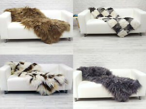 Real Icelandic Sheepskin Rug Genuine Hide Patchwork Throw Chair Sofa Cover