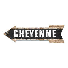 AP-0300 CHEYENNE Arrow Street Tin Chic Sign Name Sign Home man cave Decor