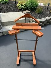 Rolling Wood Valet Stand Suit Caddy Rack Clothes Hanger Wardrobe Wheels