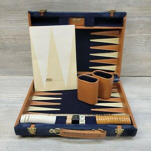 Vintage Aries of Beverly Hills Travel Backgammon Set, Blue Suede Brown Leather