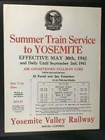 Circa 1941 Summer Train Service on Yosemite Valley Railroad Document