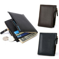 Men's Bifold Wallet Coin Purse PU Leather Short Money Clip ID Credit Card Holder