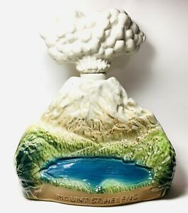 Vintage J. Beam Mount St Helens Erupting Volcano Whiskey Decanter w/ real ashes
