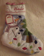 """Pottery Barn Stocking Patriot Quilted Snowman & Tree Christmas 19"""" Nwt"""