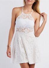 Charlotte Russe Lace Off White Ivory Dress Sz XL Criss Cross Back Summer