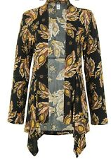 JOSTAR Poly Spandex Knit WATERFALL JACKET brown & black floral TRAVEL WEAR  M