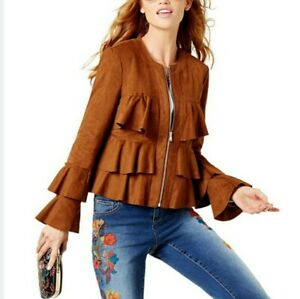 INC International Concepts Jacket L Brown Faux Suede Ruffle Stretch Lined New