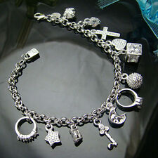 "Fashion 925Sterling Silver Moon Star 13 Charms Unisex Chain Braclet 8"" YH144"