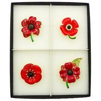 NEW SET OF 4 POPPY PINS RED BROOCH CRYSTAL RED VINTAGE ENAMEL LOT BADGE GIFT BOX