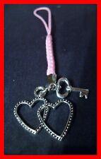 Schlüssel + Herzen Handyanhänger Schlüsselanhänger Taschenanhänger NEU  (b70)