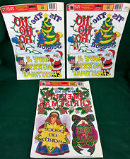 CHRISTMAS Window COLOR CLINGS Decorations GREETERS 3 Sheets PAPER MAGIC Vintage