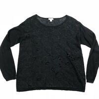 J.Jill  Womens Black Cut Out Linen Blend Blouse Top Size XS
