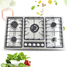5 Burners Built-In Stove Top Gas Cooktop Easy to Clean NG LPG Gas Cooking 33.8