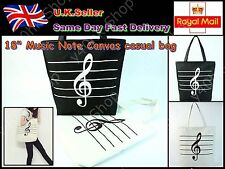 "Unisex Music Note Print 18"" Canvas casual Shopping bag Book Bag"