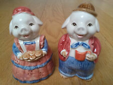 Vintage Salt and Pepper Shakers Pigs Couple Hand Painted Otagiri Japan