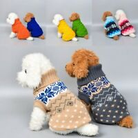Dog Pet Cat Warm Jumper knitted Sweater Clothes Knitwear Costume Coat Apparel