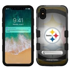 """for Apple iPhone Xs Max (6.5""""), Hard+Rubber Rugged Case Pittsburgh Steelers #BG"""