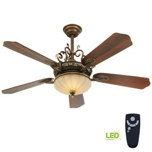 Home Decorators Chateau Deville 52 in. Integrated LED Indoor Walnut Ceiling Fan