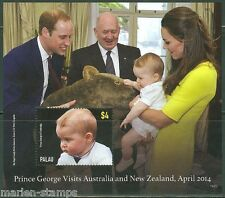 PALAU 2014 PRINCE GEORGE VISITS AUSTRALIA WITH KATE & WILLIAM S/S   MINT NH