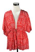 Victoria Secret Red White Hearts Batwing Kimono Sleeve Tie Front Romantic OSFA