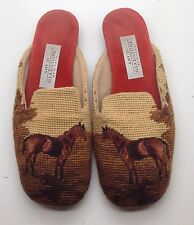 GLADSTONE Needlepoint Tan Brown Rust Equestrian Horse Pony Flat Loafee 9.5M