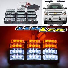 36 Led White Amber Emergency Warning Strobe Lights 6 Bars Deck Dash Grille