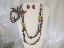 Necklace, Bracelet, Earring Set  Brown and Colored Faux Stones