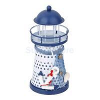 "5.3"" Hand Painted Lighthouse Iron Model Candle Holder Nautical Anchor Decor"