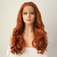 Long Synthetic Lace Front Wig Body Wave Colored Resistant Fiber Wigs Red/Blonde