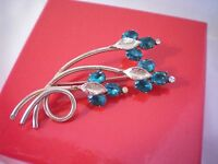 Lovely Vintage Gold Tone Brooch Blue Clear Rhinestones