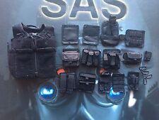 Dragón en sueños hizo británico SAS sean Chaleco Negro & Bolsas Suelto Escala 1/6th