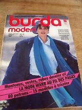 MAGAZINE BURDA MODEN LINGERIE MANTEAUX VESTES ROBE DERNIER CRI ETC 1984