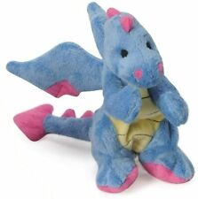 """Godog Periwinkle Dragon With chew guard 8""""x6"""" plush dog toy squeaker Small"""