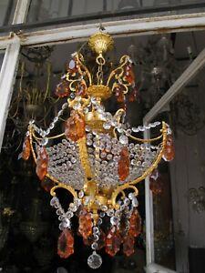 Antique Vnt French Art Nouveau Crystal Chandelier Lamp Light 1940's 18in Ø Rare
