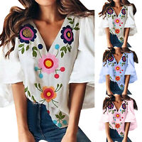 Women 3/4 Sleeve Floral Shirt Tunic V Neck Loose Blouse Casual Summer Baggy Top