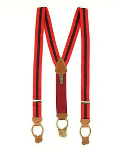 New Trafalgar Adjustable Stretch Suspenders Braces Leather Red/Blue