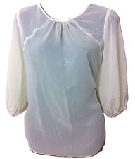 Womens ATMOSPHERE Nude/Cream Silver Stud Detail Chiffon Top - UK Size 12