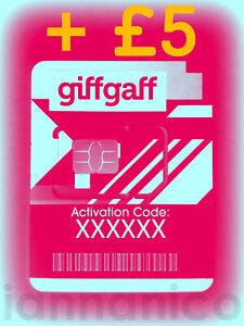 UK PAYG GIFFGAFF Nano SIM + FREE SHIPPING + £5                                -e