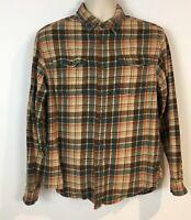 Eddie Bauer Mens L Plaid Flannel Shirt Orange Green Cotton Button Down Pockets