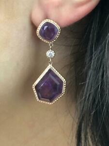 Rose Gold Sterling Silver Crushed Amethyst Abstract Chandelier Drop Earrings
