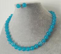 schöne 10mm blaue Jade Halskette 18 Zoll Magnetverschluss Ohrringe